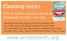 #NSM15 Cleaning Habits  42% of adults use just a brush and toothpaste for their oral care. Brushing removes plaque and food particles from the inner, outer and biting surfaces of your teeth. It's important that you also clean in-between your teeth at least once a day, using interdental brushes, floss or tape.  For more visit: http://www.nationalsmilemonth.org/  #NationalSmileMonth #SmileMonth