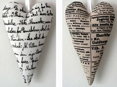 Hearts with text...Swedish site..love the vintage look and heart shape