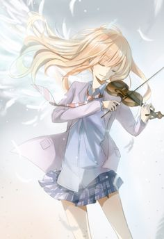 Kaori: Your lie in April. super sad love story but it was super good and I love music!