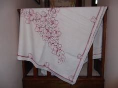 Vintage CrossStitched Table Cloth with Pink Leaf Pattern by PaulasVintageAttic, $23.99 #vintage #tablecloth #linens