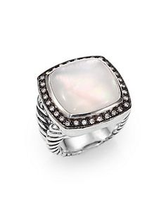 David Yurman Milky Moon Quartz, Diamond & Sterling Silver Ring