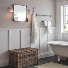 Bathroom Wall Panels, Wainscoting Bathroom, Wood Bathroom, Big Bathrooms, Upstairs Bathrooms, Small Bathroom, Cottage Style Bathrooms, Modern Bathroom, Bathroom Ideas Uk