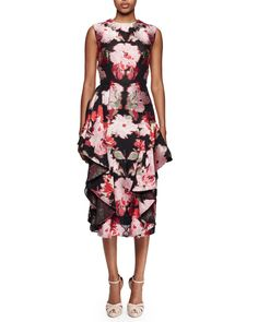 Sleeveless Floral-Print Cocktail Dress, Black Multi, Size: 48 (14 US), Black Mix - Alexander McQueen