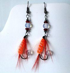 Fishing Fly Earrings - Fishing Earrings - Orange White Red Feathers Glass Gunmetal Fishing Hooks (12.00 USD) by MajaEarrings