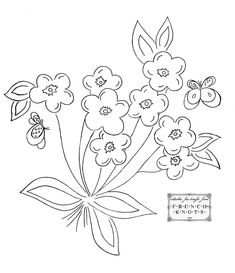 Free Printable Vintage Embroidery Patterns | Pretty Basket Embroidery Transfer Patterns