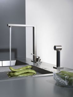 Contemporary Kitchen & Bar Faucet from Dornbracht Contemporary Kitchen Faucets, Modern Kitchen Sinks, Kitchen Sink Taps, Kitchen Mixer, Kitchen Fixtures, Modern Kitchen Design, New Kitchen, Stylish Kitchen, Bar Faucets