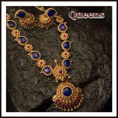 Antique Blue Haram Necklace Designs, Antique Blue Stone Necklace Designs…
