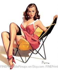 pinup pin up vintage classic old retro illustration drawing painting poster girl woman pretty sexy vargas elvgren art pout brunette dark hair pink dress stockings heels garter belt lingerie chair patio summer artist hair dress 50s 40s 30s 20s 60s 70s 1920 1930 1940 1950 1960 1970 300dpi printable quality public domain creative commons free