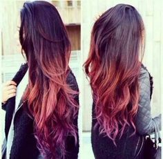 Love This Brown Orange Purple Ombre Hair My Personal Brown To Purple Ombre Hair…
