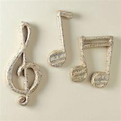 notas musicales de papel mache