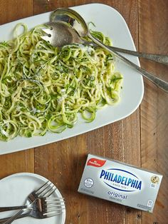 Zucchini Noodle Alfredo - Win a $75 Amex card, 4 winners over 4 weeks means more time to enter and more chances to win #Philly4Passover #Ad