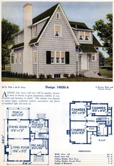 American home designs - Vintage house plans Vintage House Plans, Dream House Plans, Small House Plans, House Floor Plans, American Home Design, Sims House Design, Cottages And Bungalows, Custom Home Plans, Home Design Floor Plans