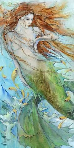 Mermaid and a Fish Shoal by CP Wyatt - Christina Wyatt