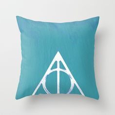 Deathly Hallows - Blue Throw Pillow by Phoenix Prints - $20.00