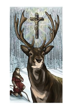 Saint Hubert and the Stag 12 x 18 Art Print by TheSocietyofSaints