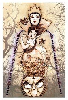 """Regina Alphonso Disney  Underground Giclee on Paper: """"Flight From Forest"""" Snow white"""