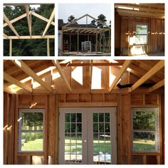 New Addition to House Future dining room DIY Home Renovation Framing, windows, French doors, vaulted ceilings We can't wait to entertain guests with delicious meals and this wonderful view of the back yard!