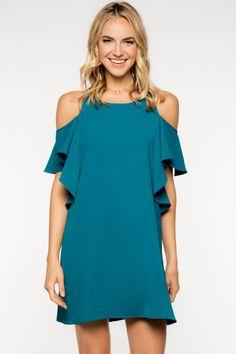 Deep Teal Cold Shoulder Dress