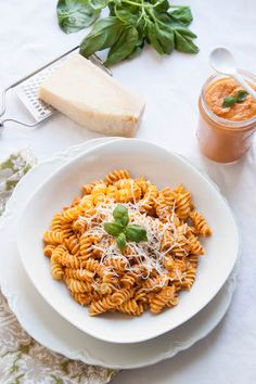 Roasted Red Pepper Pesto perfect for those nights that you don't want to put a lot of effort into cooking and you're ready to eat now | @cornerkitchen #pasta #recipe