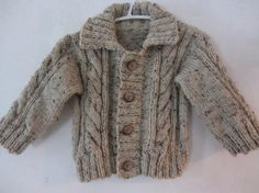 Hand knit baby cardigan sweater with cable by BabyStylesKnits