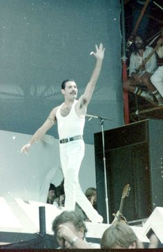 Freddie Mercury @ Live Aid '85. The second before Freddie and Queen stole live aid and music changed forever.