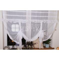 Shabby chic roletka z falbanką z etaminy szycie firan  firany sklep modne firany  #rideaux #cortinas  #firany #deco #szyjemy #dekoratorka #provensal #okno #stylista #dekoracje #homedecoration #curtains #home #tissu #voilages Sheer Curtains, Shabby Chic, Home Decor, Table Toppers, Blinds, Curtains, Fabric, Decoration Home, Room Decor