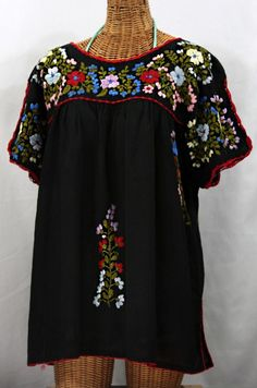 """Lijera Libre"" XL Embroidered Mexican Blouse by Siren in Black with Multi-Color Hand Embroidery.  Dyed, distressed and trimmed in crochet by hand for an authenitc, vintage-y vibe!  $62.95"