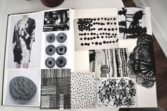 Fashion Sketchbook - monochrome print pattern development for fashion design; the creative process; fashion portfolio