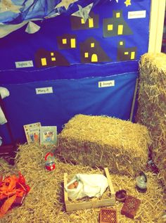Nativity role play corner Christmas Activities For Kids, Preschool Christmas, Christmas Themes, Kids Christmas, Preschool Activities, Christmas Crafts, Christmas Nativity Scene, Woodland Christmas, Role Play Areas