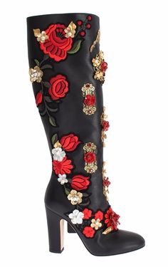df263ccee5a42d NEW DOLCE & GABBANA Boots Shoes Roses Crystal Gold Heart Leather EU40 /  US9 8058349800265