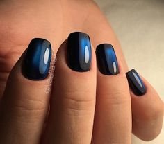 Accurate nails, Beautiful summer nails, Black and blue nails, Cat eye nails, Evening nails, Everyday nails, Nails ideas 2016, Nails trends 2016