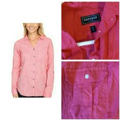 Express original button up in bright pink Express orginal bright pink cotton button up. This is like the portofinos but more casual! I couldnt find the stock for the exact color so please refer to the right side of my picture for the actual color. New without tags - i couldnt rock the brighter color :(! Sleeves are full length and can be tabbed up. Super cute with a nice pair of skinny jeans! Retails in stores for $59 Size: medium  Ptp: 21in Length: 24.5in front, 27in back Express Tops…