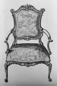 Rococo Furniture, Georgian Furniture, Furniture Design, Drawing Furniture, Bed Crown, Paper Crafts Origami, Antique Illustration, Sofa Chair, Armchairs