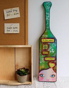 Mixed Media Paddle with Inspirational Quote -- Make a mixed media paddle with an inspirational quote.  #decoartprojects