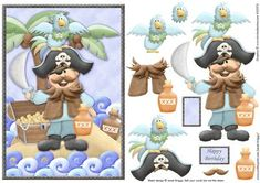 Pirate and Parrot Topper and Decoupage on Craftsuprint designed by Janet Briggs - A pirate themed card front with step by step decoupage.Features a pirate with his parrot on a treasure island.Great scene for any little boy's birthday or big boys!1 blank sentiment tag an additional tag for layering, reads 'Happy Birthday'. - Now available for download!