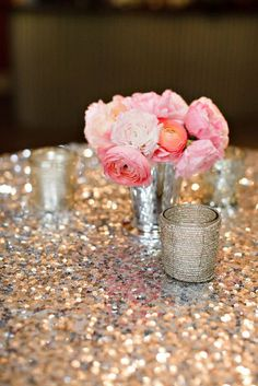 Let sequin tablecloths steal all the attention — 22 Ways to Give Your Wedding the Midas Touch