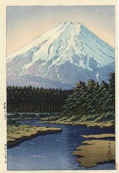 Kawase Hasui détail - Mont Fuji vu de Oshino, 1942
