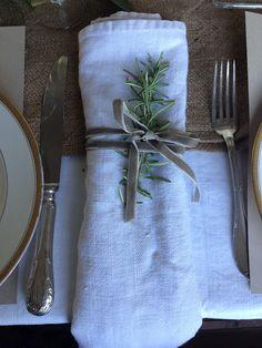 linen napkin + velvet ribbon + herb sprig