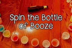 Fill up random cups in a circle, and whenever someone says a word that you, as a group, have deemed taboo that person has to spin the bottle and down the cup. You can make this game as pleasant or as revolting as you like.
