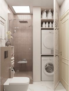 Washroom Design, Bathroom Design Luxury, Laundry Room Design, Home Room Design, Home Interior Design, Toilet Design, Small House Design, Laundry Bathroom Combo, Tiny House Bathroom
