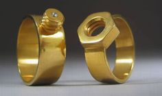 Unique nut and bolt wedding rings