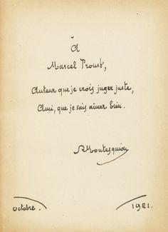 Robert de Montesquiou, dédicae voor Marcel van een van zijn werken
