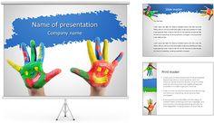 Mãos CHILDA € ™ s Na Pintura Modelos de apresentações PowerPoint