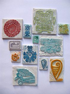 Print without a press use carved stamps - Maya inspired (in French)