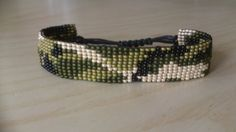 "Loom beaded bracelet ""camouflage"" ""army"" / Beaded bracelet with waxed cord Webstuhl Perlen Armband Tarnung Armee / Perlen Armband Loom Bracelet Patterns, Bead Loom Bracelets, Bead Loom Patterns, Beading Patterns, Beading Ideas, Beaded Cross Stitch, Bohemian Bracelets, Loom Beading, Bead Weaving"