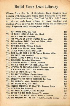 Scholastic Book Services' available titles, circa 1961.