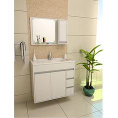 Ao decorar o seu banheiro, opte por armários e gabinetes com prateleiras e gavetas para facilitar a organização de produtos de higiene e remédios.
