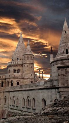 Fisherman's Bastion, Budapest, Hungary. I've been here and it's AMAZING. Overlooks all of Budapest.