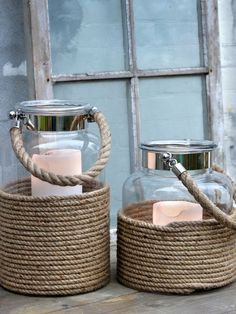 Cool Diy decor ideas and crafts with rope Hurricane Lamps, Candle Lanterns, Flameless Candles, Cool Diy, Style Nautique, Deco Marine, Nautical Design, Nautical Theme, Nautical Lanterns