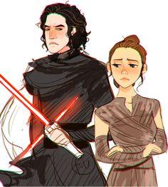 Kylo Ren and Rey Art - Star Wars: The Force Awakens